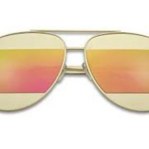 Kiss Accessories - CUT-OUT MIRRORED AVIATOR SUNGLASSES PINK NEW